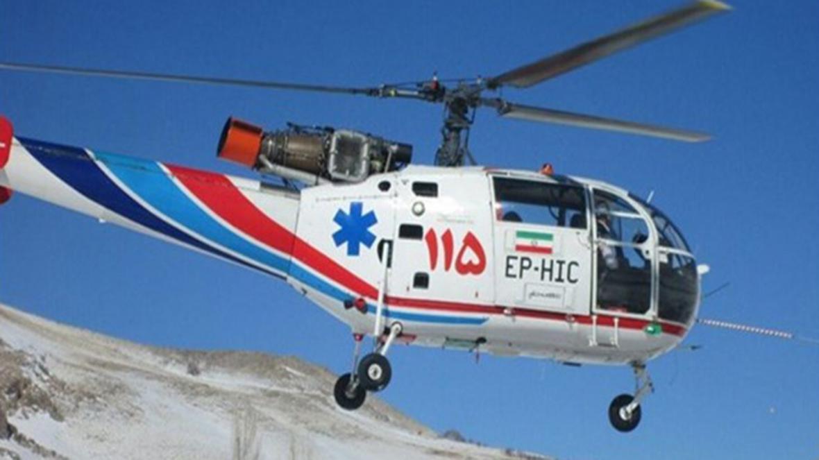 انتقال مادر باردار دیشموکی سوخته شده به مرکز درمانی یاسوج توسط بالگرد اورژانس