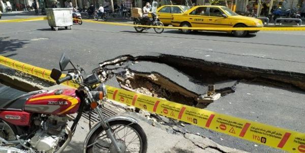 نشست زمین در خیابان امیرکبیر تهران